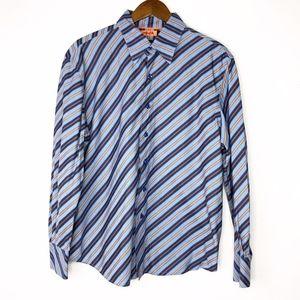 MARC ECKO Blue & Orange Long Sleeve Shirt - Large